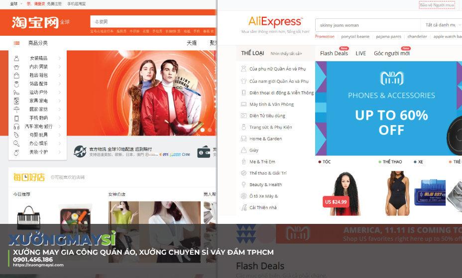 Nguồn hàng quần áo sỉ tại website thương mại điện nước ngoài như Taobao, Aliexpress...