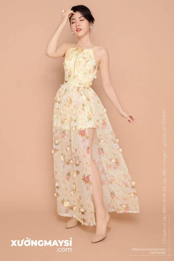 Váy đầm maxi hoa phá cách đi dự tiệc cưới