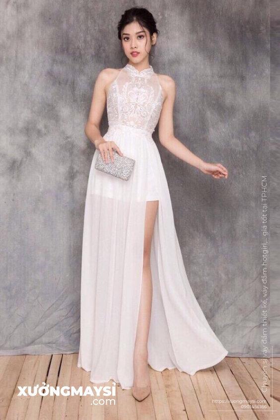Đầm maxi cổ yếm đi dự tiệc cưới