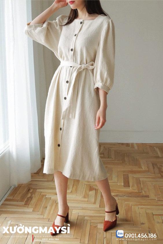 Váy đầm thiết kế từ chất liệu đũi
