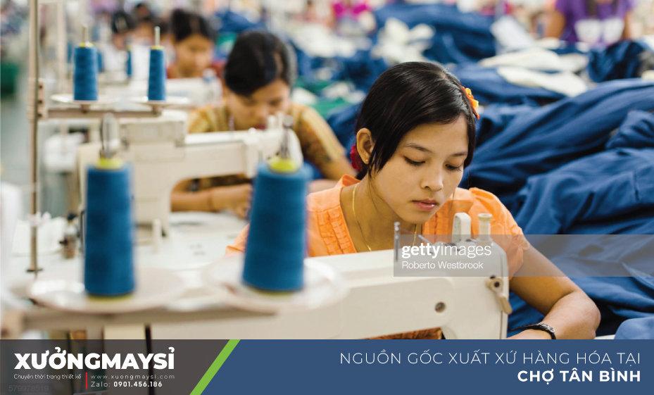 Nguồn gốc xuất xứ quần áo sỉ tại chợ Tân Bình chủ yếu đến từ các xưởng may gia công ở HCM và các tỉnh lân cận