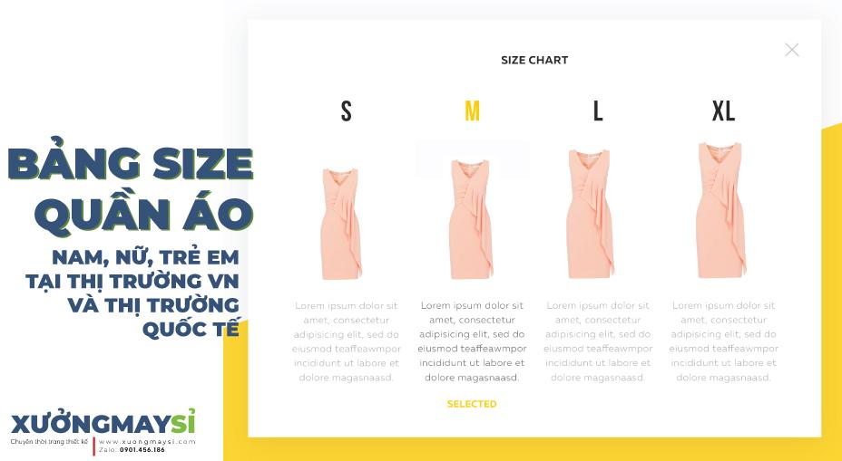 Bảng size quần áo nam, nữ, trẻ em chuẩn thị trường Việt Nam và quốc tế