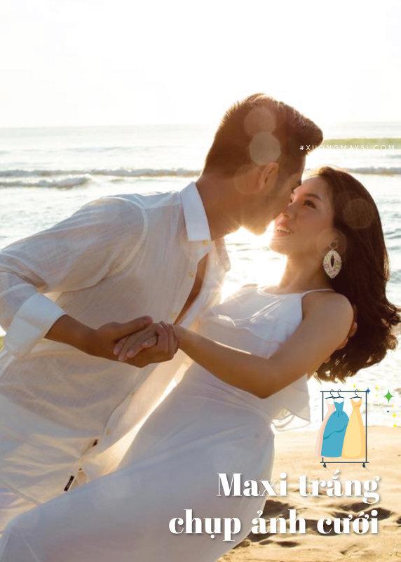 Đầm maxi trắng 2 dây