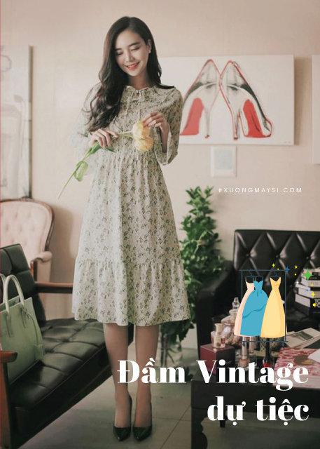 Váy đầm Vintage tiểu thư Hàn Quốc