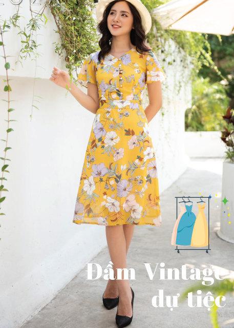 Những mẫu Váy đầm vintage hoa