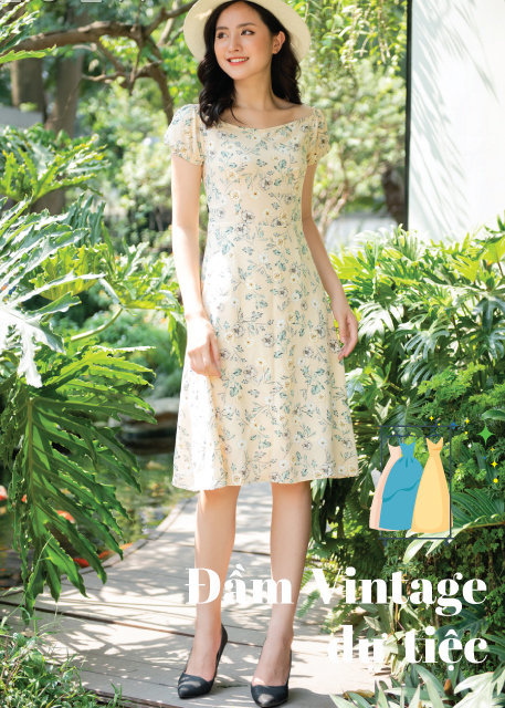 Những mẫu Váy đầm vintage hoa nhí