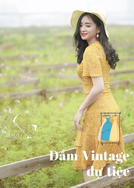 Đầm hoa vintage cổ điển