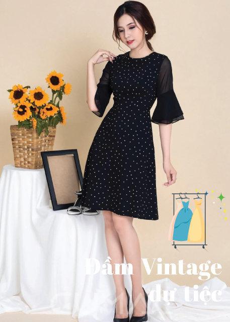 Váy Đầm vintage chấm bi