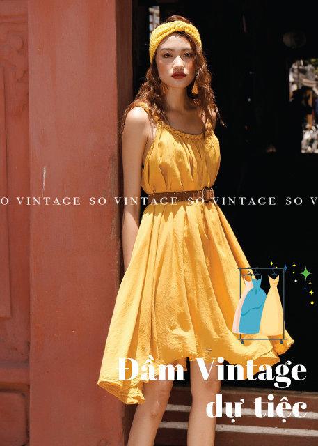Váy đầm vintage vàng