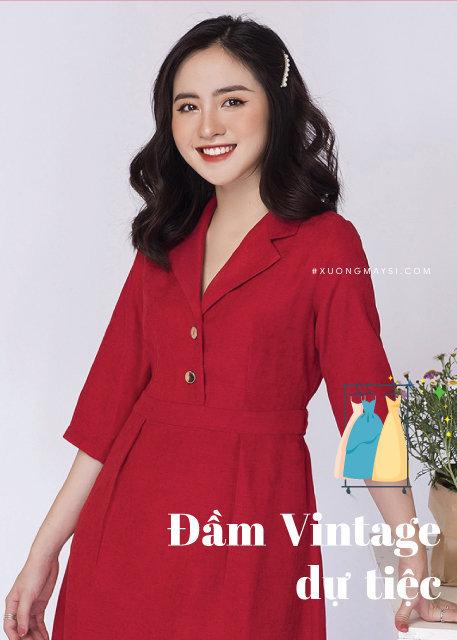 Váy đầm vintage đỏ
