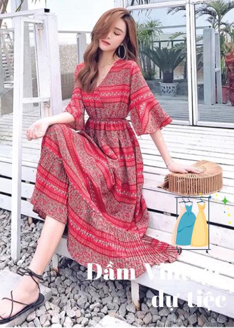 Váy Vintage họa tiết thổ cẩm phối với phụ kiện thủ công đan lát