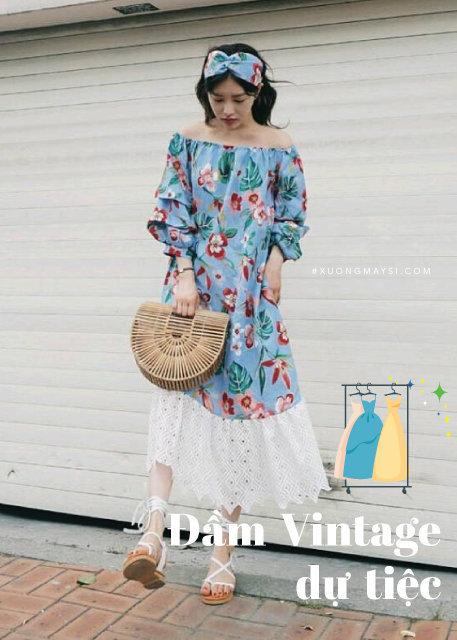Vintage họa tiết hoa kết hợp các phụ kiện đan lát