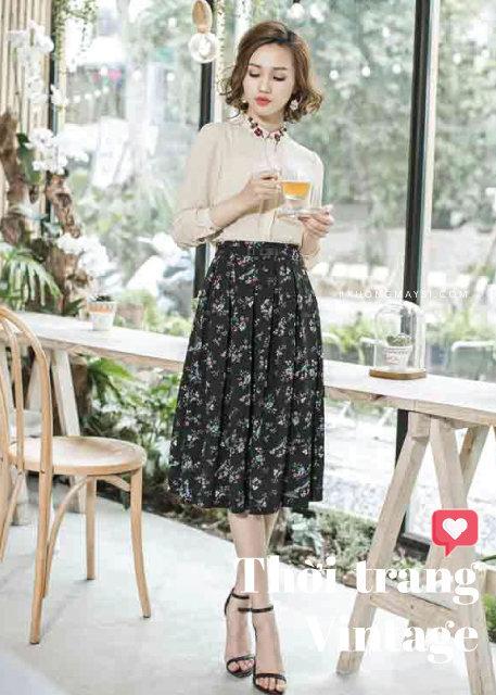 Chân váy vintage hoa nhí