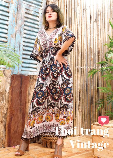 Đầm vintage thổ cẩm