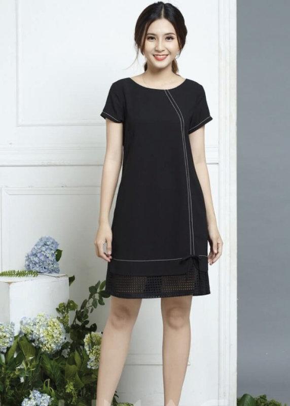 Váy suông chữ A đen cách điệu bèo ren dự tiệc cho người mập ăn gian vóc dáng