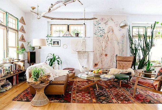 Phòng khách trang trí theo phong cách Boho