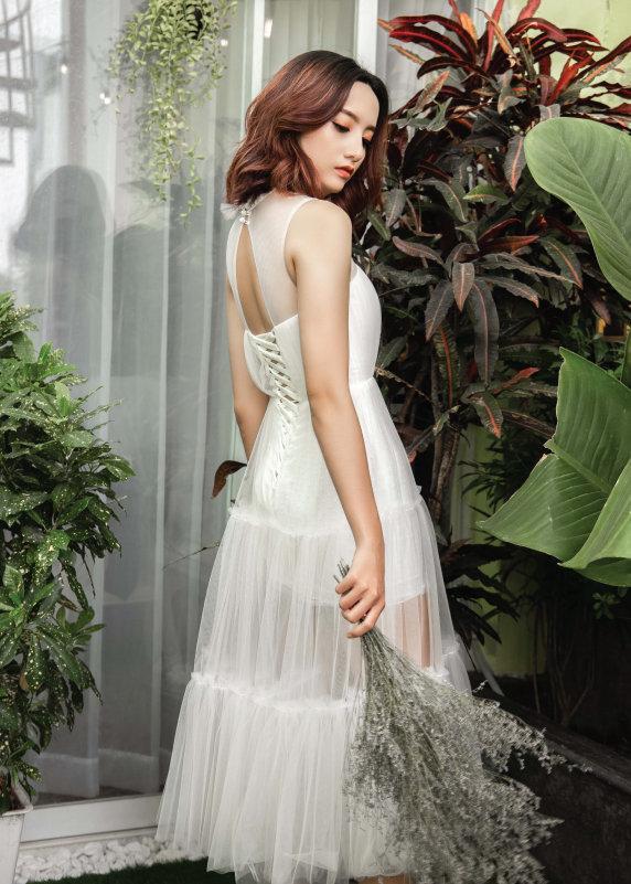 Đầm boho cưới trắng dáng dài