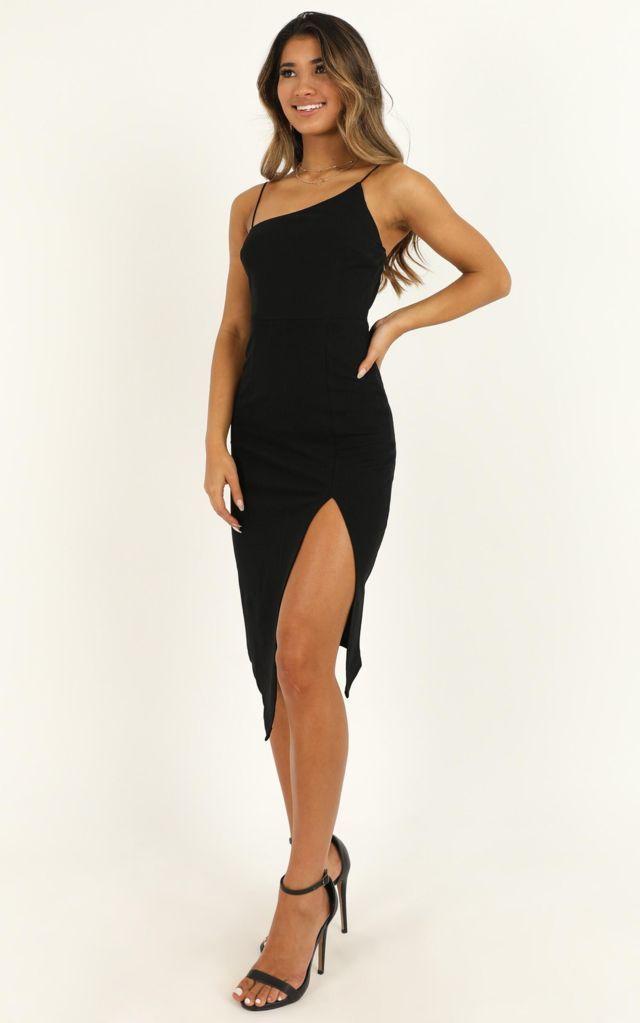 Váy ôm body 2 dây đen xẻ tà quyến rũ