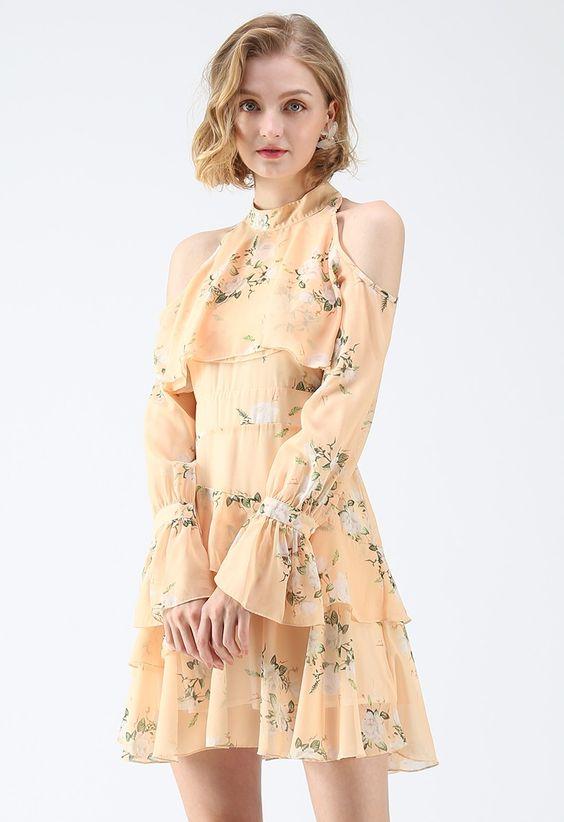 Đầm maxi hoa bèo tầng