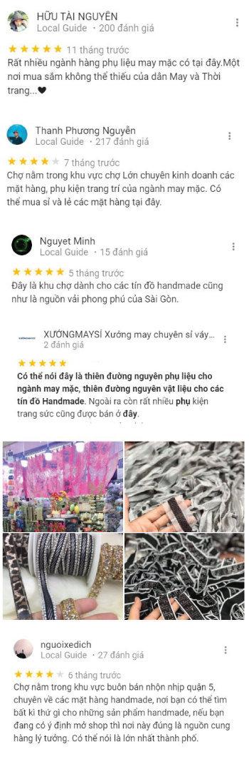 Những đánh giá của người dùng trên Google về khu chợ Đại Quang Minh Q5