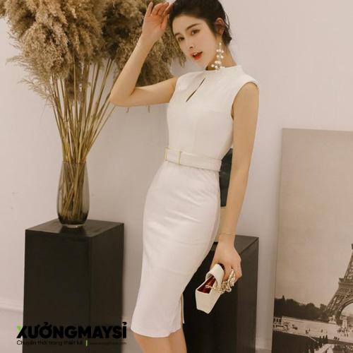 Đầm body dự tiệc màu trắng ngắn nịt eo sexy nhẹ nhàng
