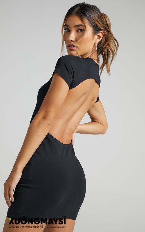 Đầm ôm body thun hở lưng