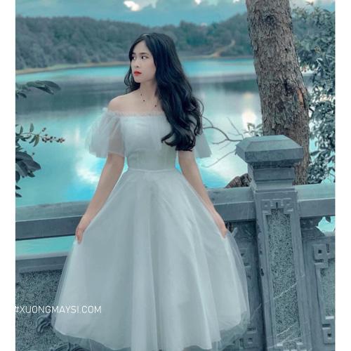 Váy trễ vai màu turquoise xanh ngọc bích quý phái cho nữ