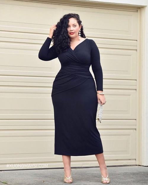 Phối váy đầm ôm body chất liệu thun sọc ngang nhỏ cho nàng béo