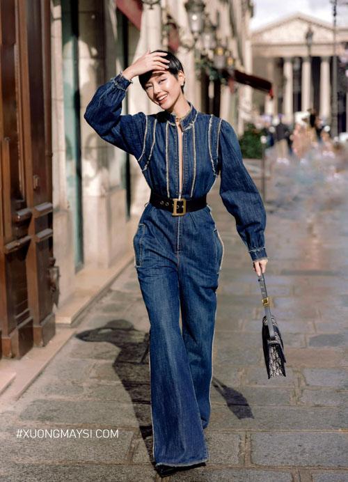 Khánh Linh diện đồ cá tính phong cách độc đáo trên phố