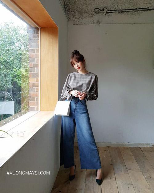Phối đồ với quần jean ống rộng cho các nàng có vòng eo bánh mì