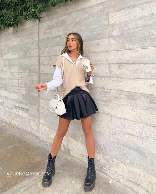Outfit trendy cùng áo len gile