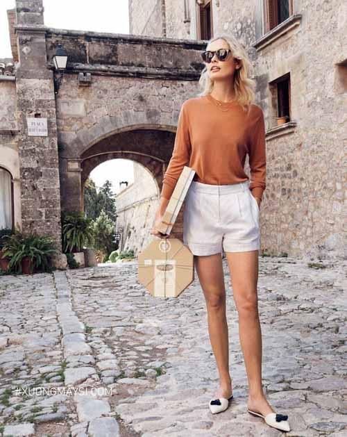 Phong cách mùa đông cùng với quần short nữ