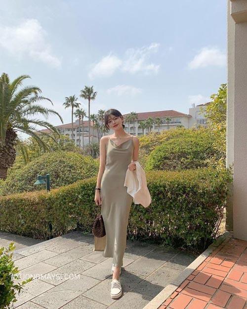 Đầm maxi dài du lịch mùa hè quyến rũ