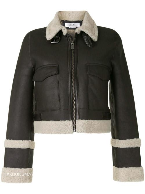 Chiếc áo khoác da lông cừu Victoria Beckham với trị g