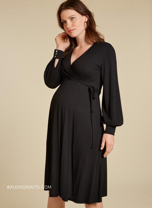 Đầm bầu công sở màu đen phù hợp với phong cách văn phòng