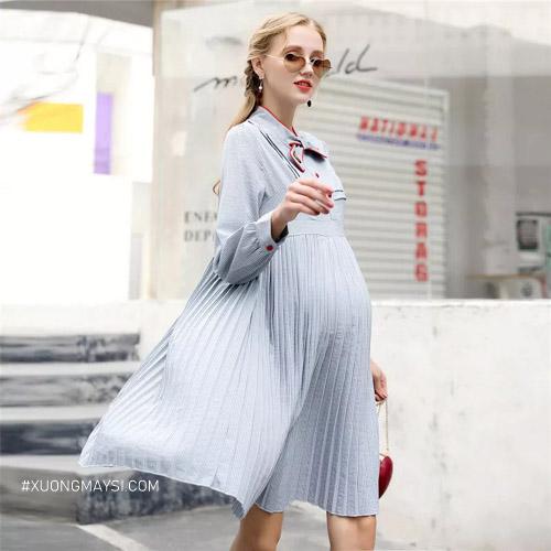 Đầm bầu công sở có màu sắc sang trọng, kiểu dáng bắt mắt dành cho các mẹ bầu trẻ