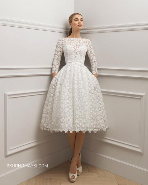 Váy cưới tay dài giúp nàng che đi khuyết điểm