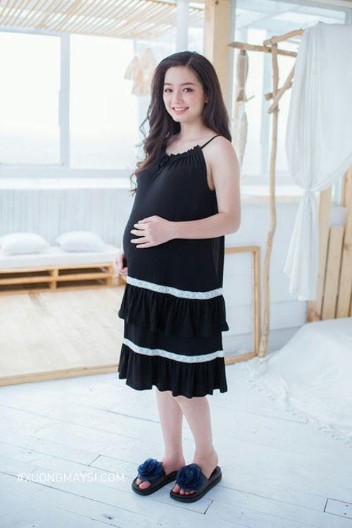 Đầm bầu 2 dây xinh xắn mặc nhà dành cho các mẹ