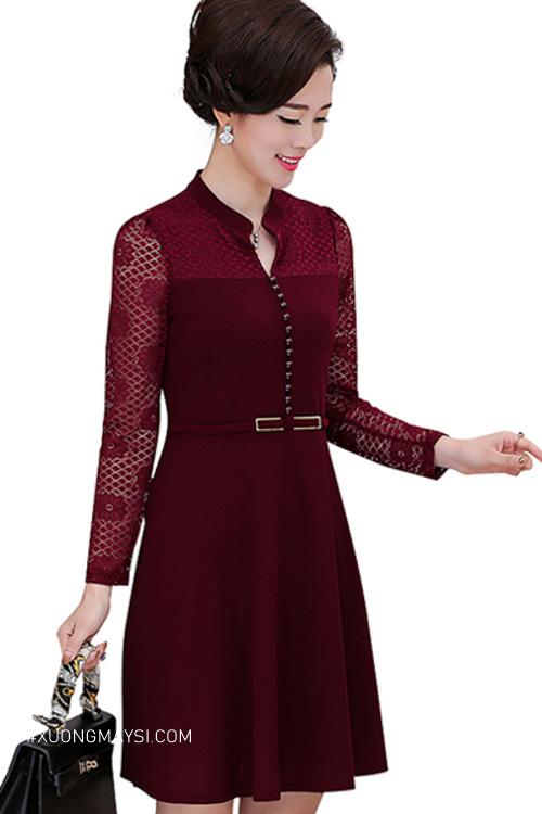Đầm sơ mi trung niên màu burgundy cực kỳ quý phái dành cho các quý cô