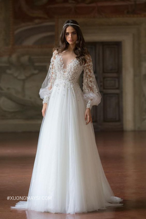 Soiree cưới dáng dài phù hợp với mọi vóc dáng cô dâu