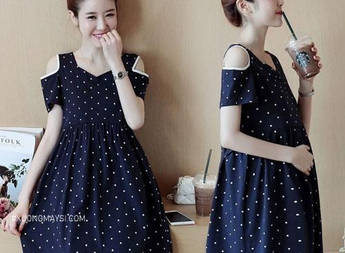 Đầm bầu Misano Shop trẻ trung hoạ tiết nhí nhảnh xinh xắn cho các mẹ bầu trẻ