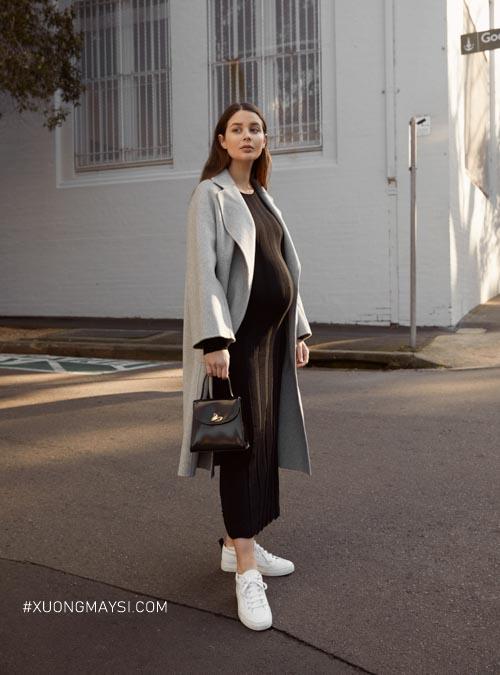 Đầm bầu body công sở cùng áo blazer dài cực kỳ hiện đại cho các mẹ bầu