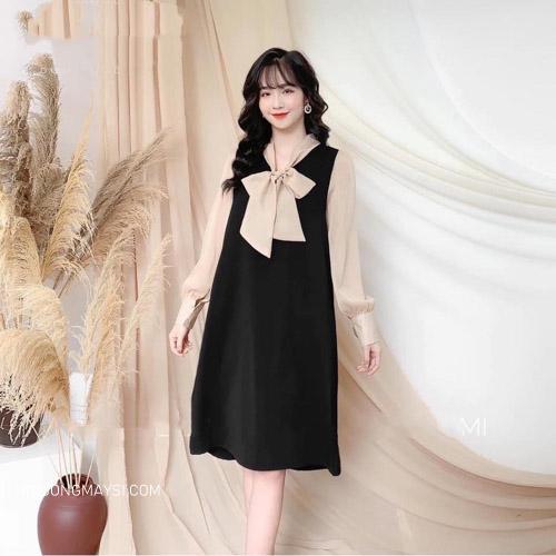 Đầm bầu Hàn Quốc với thiết kế xinh xắn với chiếc nơ buộc mang đến sự đáng yêu cho các mẹ bầu