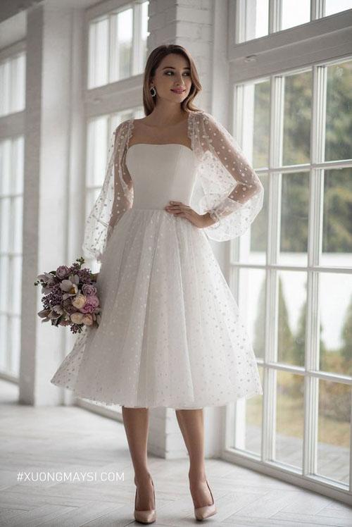 Dáng váy cưới ngắn công chúa giúp nàng ngọt ngào quyến rũ