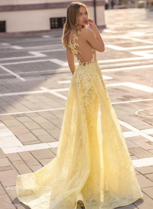 Một chiếc váy cưới đuôi cá màu vàng ngọt ngào, quyến rũ