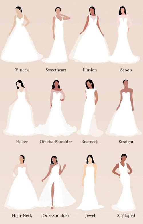 Có rất nhiều dáng váy cưới mà nàng có thể tham khảo qua