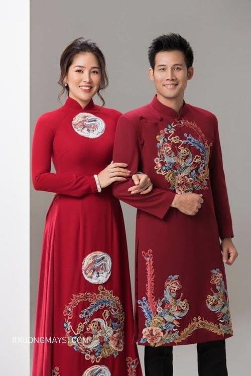 Áo dài cưới cặp đôi thêu hình long phụng cho ngày trọng đại