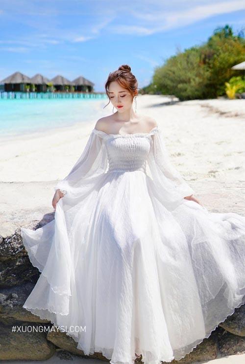 Đầm maxi trắng kiểu dáng trễ vai cực kỳ đáng yêu cho nữ