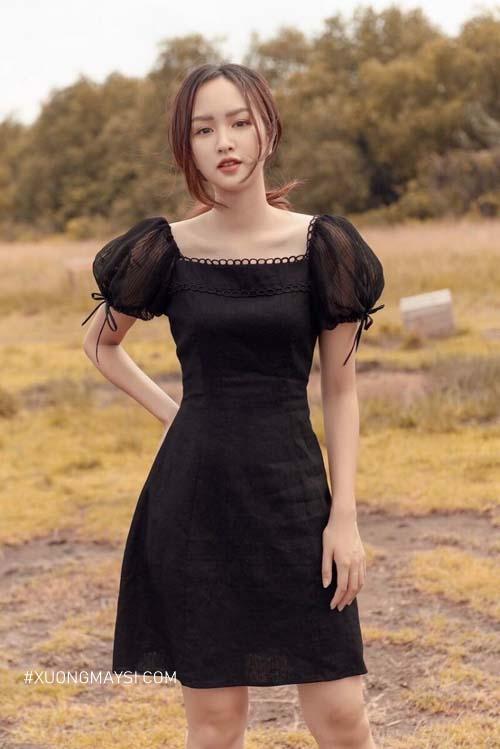 Đầm cổ vuông tay phồng kiểu dáng trẻ trung, xinh xắn cho các bạn nữ