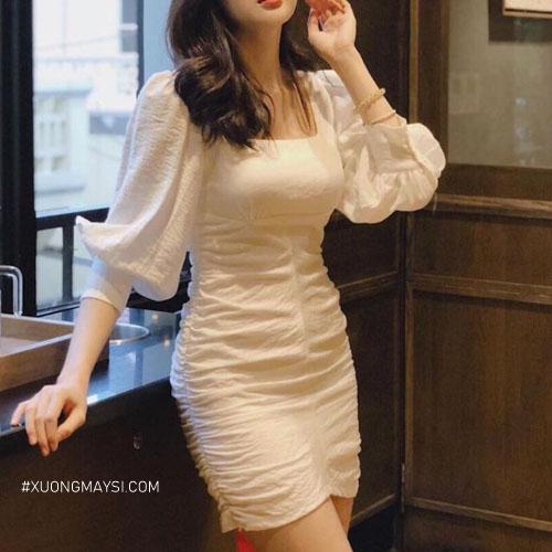 Đầm body cổ vuông tay phồng gợi cảm, lộng lẫy cho các bạn nữ
